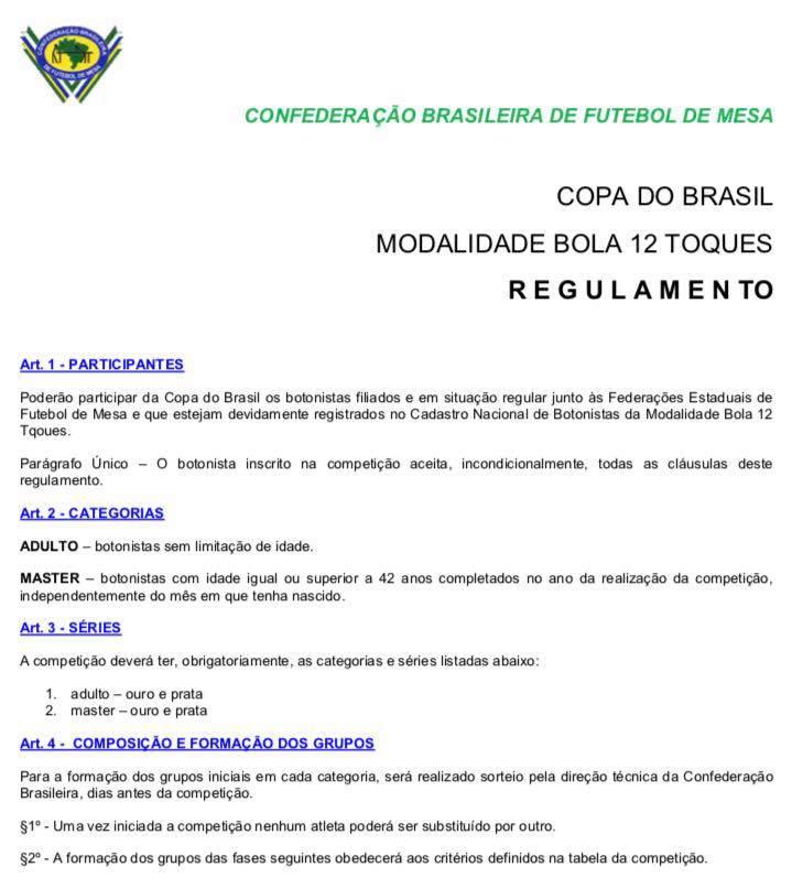 REGULAMENTO COPA DO BRASIL 12 TOQUES