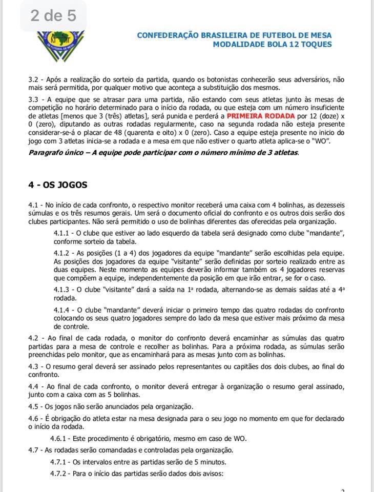 BRASILEIRO DE EQUIPES 12 TOQUES - REGULAMENTO