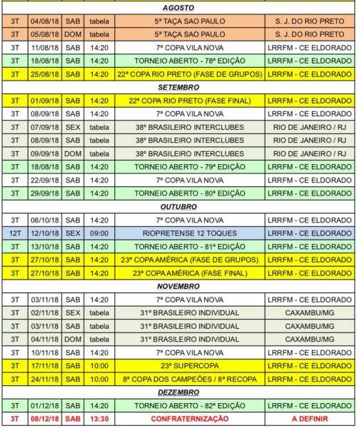 Calendário Paulista de 3 Toques