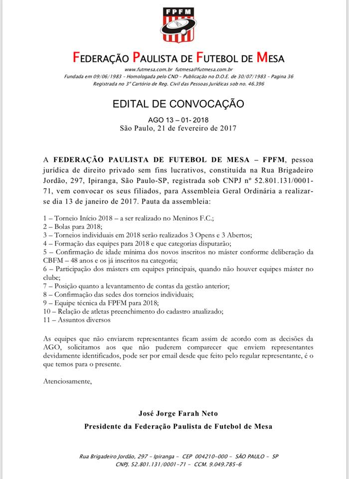 Convocação Assembleia Geral FPFM