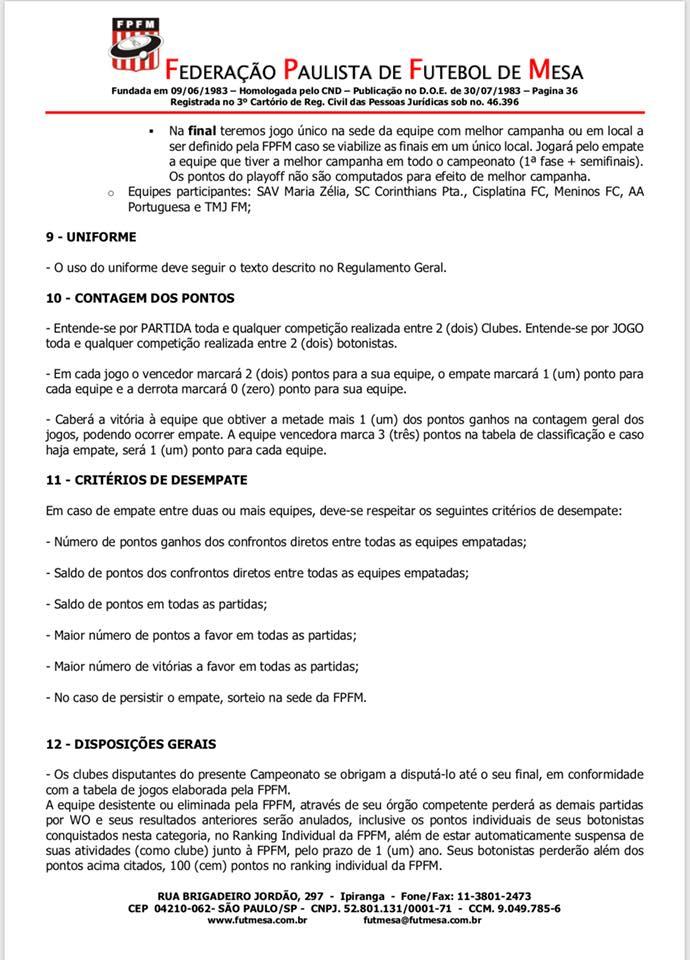 Regulamentos 2018