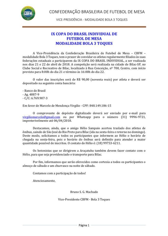 Carta Convite - Copa do Brasil 2018 - 3TOQUES