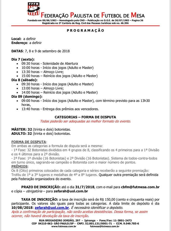 Carta Convite - Copa do Brasil 2018